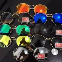 Kit 6 Óculos De Sol R. B. Round Redondo Lentes Coloridas