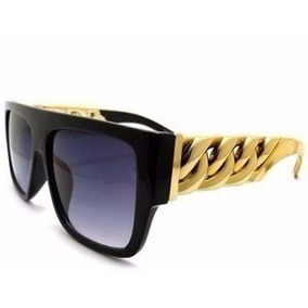Óculos Sol Feminino Preto Corrente Dourada Case Luxo Flanela