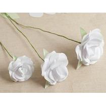 140 Mini Rosas Brancas Abertas Pacotes Rosinhas Artificiais