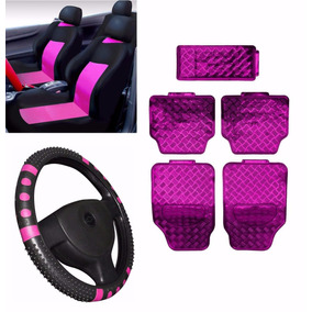 Kit Rosa Pink Jogo Tapete Jogo Capa Banco Volante Fiesta Ka