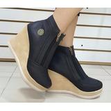 Botín Plataforma Zapatos Altos Bota Corta Negra Dama Mujer