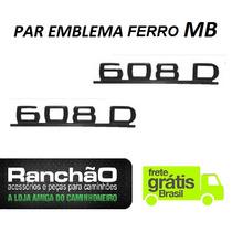 Par Emblema Caminhão Mb 608 D Ferro Preto Zamak Frete Grátis