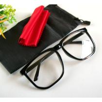 Armação Óculos De Grau Grande Quadrado Vintage Retrô Geek