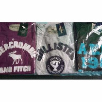Kit C 5 Camisas Masculinas Holliste, Abercrombie Bordadas