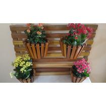 Suporte Vertical Para Flores Plantas Em Madeira 4 Vasos 033