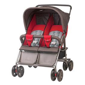 Super Oferta Carrinho De Bebê Gêmeos Grafite/vermelho Top !