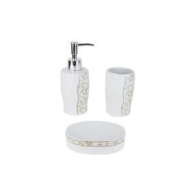 Jogo P/ Banheiro De Porcelana C/ 3 Peças Decorado Ref. Dmp4