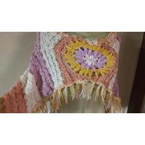 Cropped Poncho Croche Trabalhado Franja