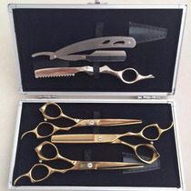 Kit 3 Tesoura Profissional+navalha+laser+dentada+luxo Estojo