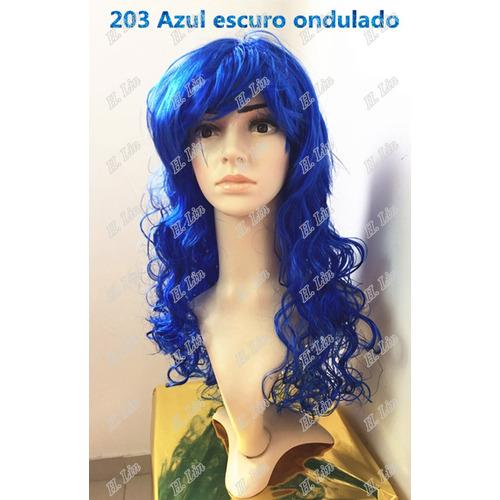 Peruca Para Carnaval Festa Colorida Cosplay Azul Escuro 203