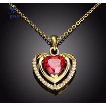 Colgante Red Heart Y Cadena Bañada En Oro