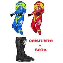 Kit Equipamentos Asw Conjunto + Bota Motocross Trilha