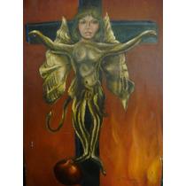 Martha Chapa Pintura Original Oleo Autorretrato Vampira