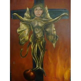 Martha Chapa, Pintura Original Oleo Autorretrato Vampira