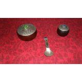 Caja Madera Tapa Cubierta Metal Grabado Y Piedras Lote X 3