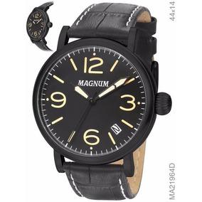 Relógio Masculino Magnum Ma21964d Couro Preta Original Nfe
