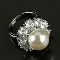 Anillo De Perla Con Zirconia Calidad Diamantes Talla 6.5 Y 7