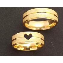 Par De Alianças 5 Grs 4mm Ouro 18k Coração Vazado Casamento