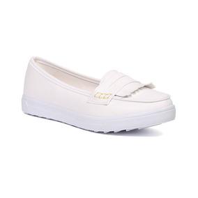 Trender Flat Color Blanco Con Flecos Al Frente 9170607