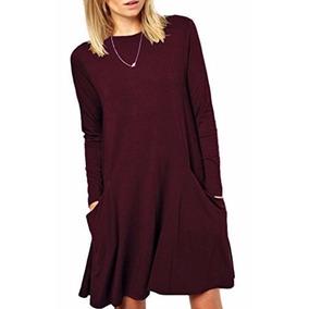 Vestido Mujer Casual Basico Tunica Zero City Burgundy S
