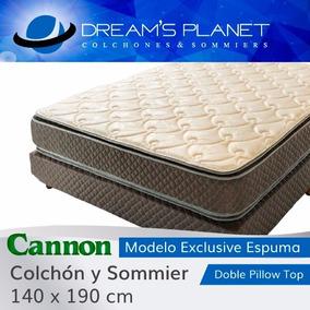 Colchon Sommier Cannon Exclusive Con Pillow 140x190