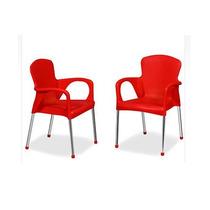Cadeira Poltrona Colorida Plastico E Aço Cromado