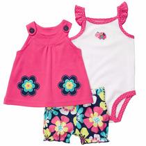 Conjunto Carters Pañalero,blusa,short, Niña Recien Nacido Nb