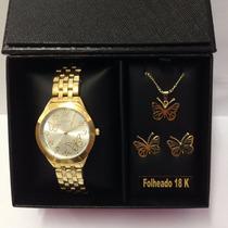 Relógio Lince Lrg4291l + Brinde Conjunto Folheado A Ouro