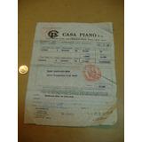 Antigua Boleta Factura De Casa Piano 1986 Australes Dolares