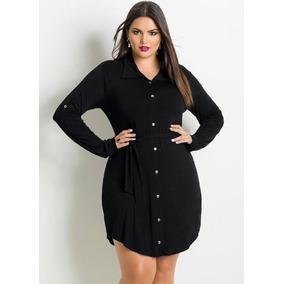 Vestido Plus Size Estilo Camisa Preto 4648 50 52 54 56 58 60