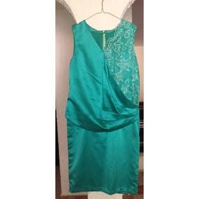 Hermoso Vestido Corto De Fiesta, Verde Esmeralda Talla Plus