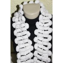 Cachecol Feminino Branco Lã Pom Pom R$ 15,00