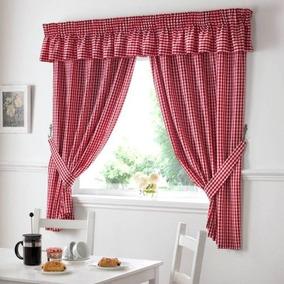 guinga verificacin roja blanco cocina cortinas cortinas w4 - Cortinas Rojas