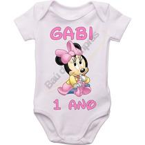 Body Infantil Bebê Personalizado Disney Minnie Baby Rosa