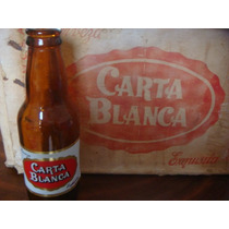 Antiguo Carton De Cerveza Carta Blanca Con 25 Botellas 1955
