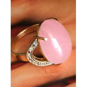 Anel Ouro 18k, Diamantes, Quartz Rosa Natural, Aro 18 E 8 Gr