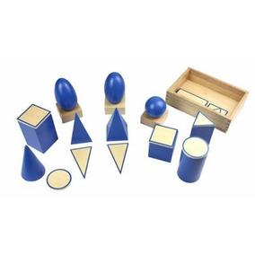 Cuerpos Geométricos Sólidos Azul Madera 24 Piezas 4+ Gpl