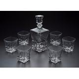 Jogo 7 Peças Whisky Bari Cristal Garrafa Copos Wolff R 2750