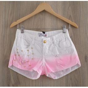 Short Jeans Divine - Tie Dye - C/spike - Branco C/rosa