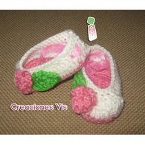 Hermosos Zapatitos Tipo Ballet P/bebé Tejidos A Mano Crochet