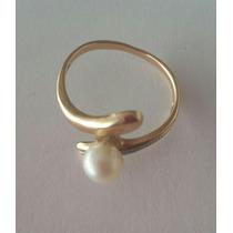 Anillo Oro Solido 14k Con Perla