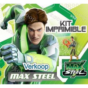Kit Imprimible Max Steel Invitaciones Tarjetas Marcos