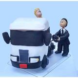 Casal Noivinhos De Biscuit Cavalo Mecanico Caminhão Topo