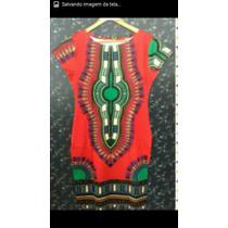 Vestido Afro, Tecido Africano Manga,ótima Qualidade,elastano
