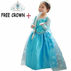 Vestido Disfraz Frozen Disney Elsa Con Corona
