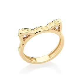 Anel Ouro Folheado Formato Gato Com Zircônia Rommanel 512028