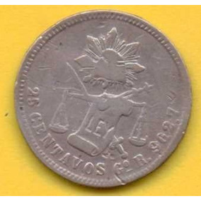 25 Centavos 1885 Plata Go México Presidente Porfiro Díaz