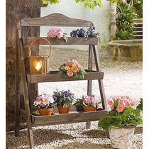 Suporte Plantas Floreira Prateleira Estante Escada Madeira