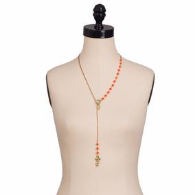 Collar De Piedras Semipreciosas Y Dije De Bronce