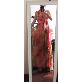 Vestido De Fiesta Color Salmon, Naranja Y Negro Como Nuevo.